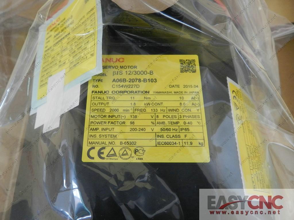 A06B-2078-B103 Fanuc ac servo motor Bis 12/3000-B new