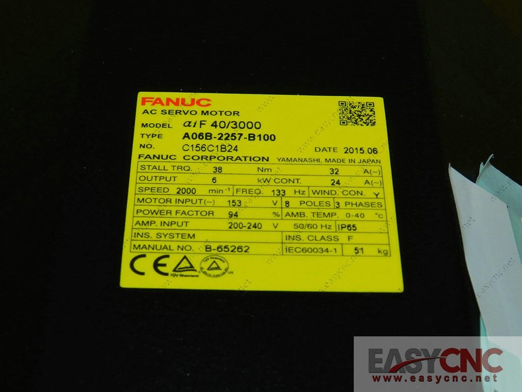 A06B-2257-B100 Fanuc ac servo motor aiF40/3000 new